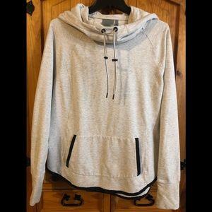 ATHLETA Cowl Hoodie Pocket Sweatshirt  Gray L